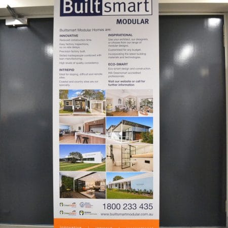 builtsmart pull up standee printing by jennings print group