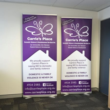 carries place pull up standee printing by jennings print group