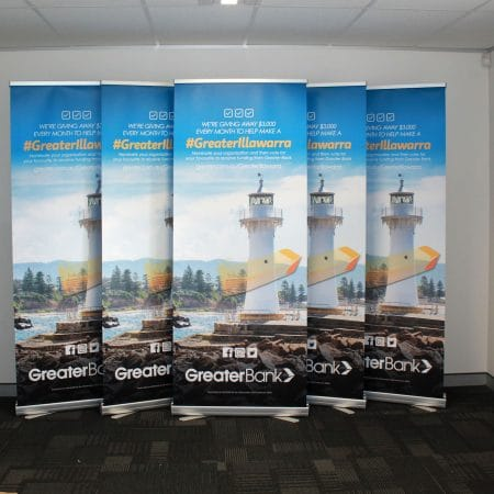 greater illawarra pull up standee printing by jennings print group