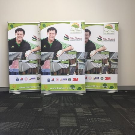 gutter guard pull up standee printing by jennings print group
