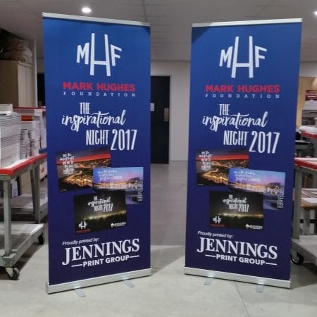 mhf pull up standee printing by jennings print group