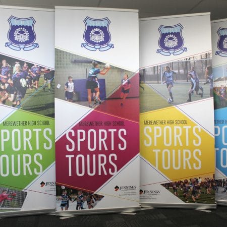 mhs pull up standee printing by jennings print group