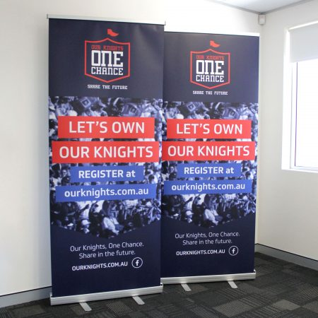 knights pull up standee printing by jennings print group