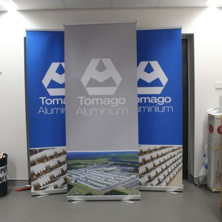 tomago aluminium pull up standee printing by jennings print group