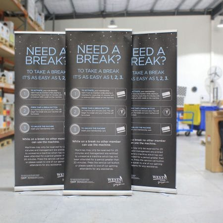 wests pull up standee printing by jennings print group