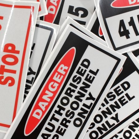 caution sticker printed by jennings print group