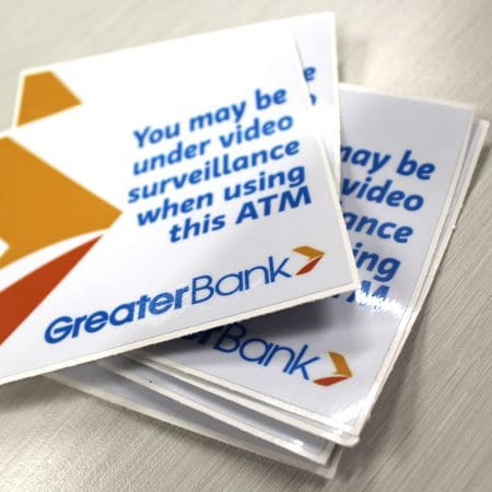 greater bank sticker printed by jennings print group