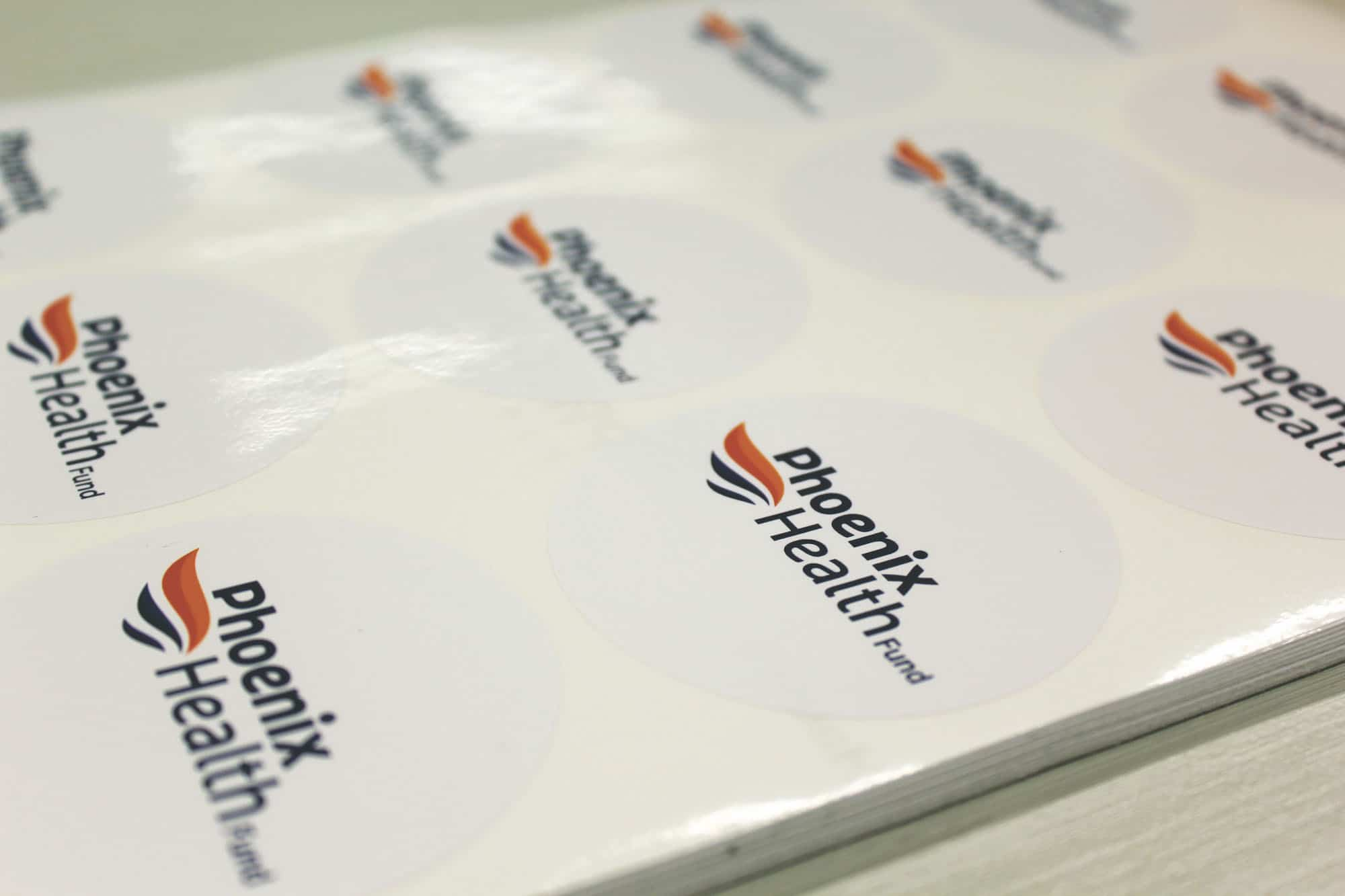 Phoenix health stickers printed by jennings print group