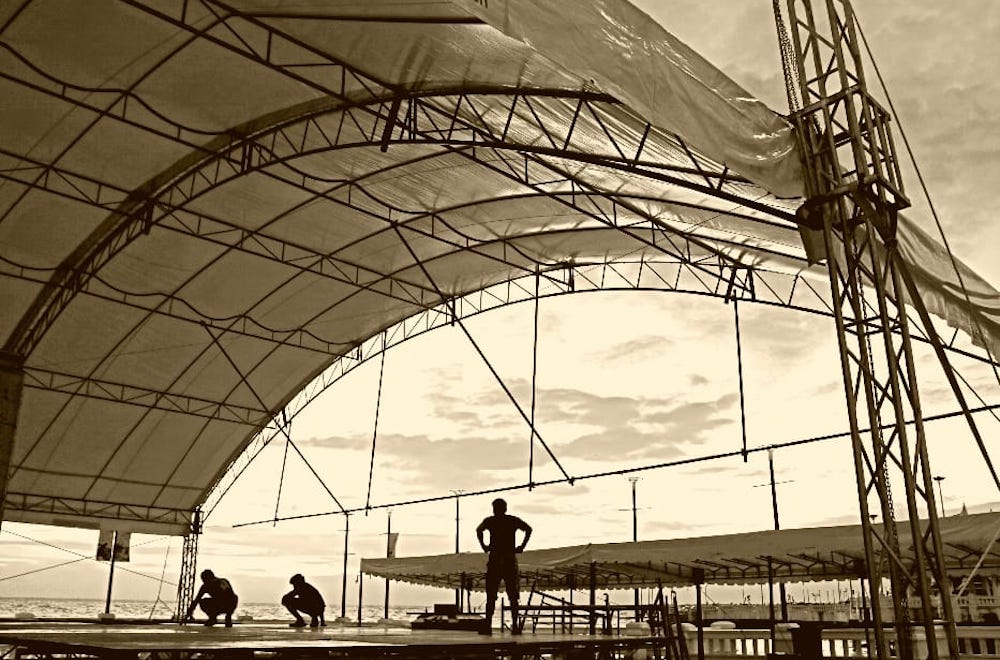 Stage building for a winery concert